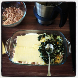 Lasagnes aux blettes, béchamel et agneau