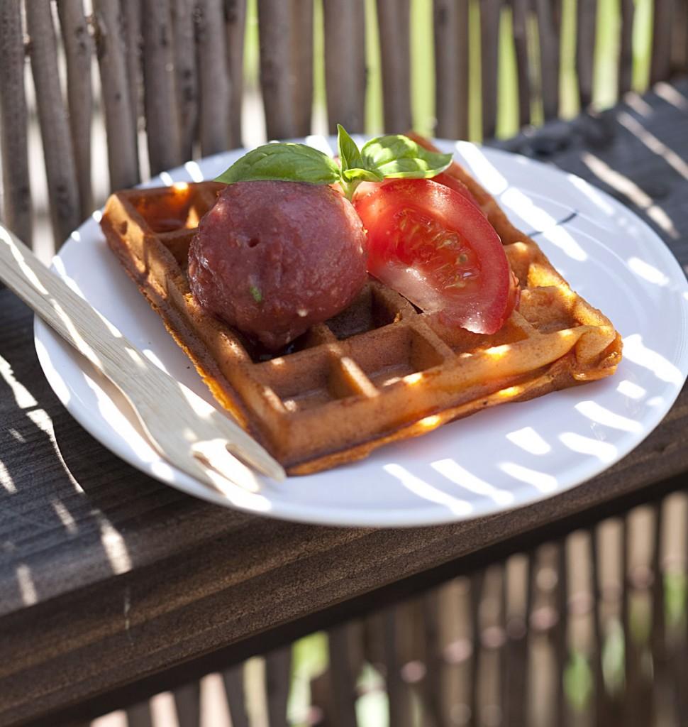 gaufres la tomate et sorbet de tomates au basilic biod lices. Black Bedroom Furniture Sets. Home Design Ideas