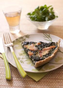 Quiche au saumon et épinards – sans lactose