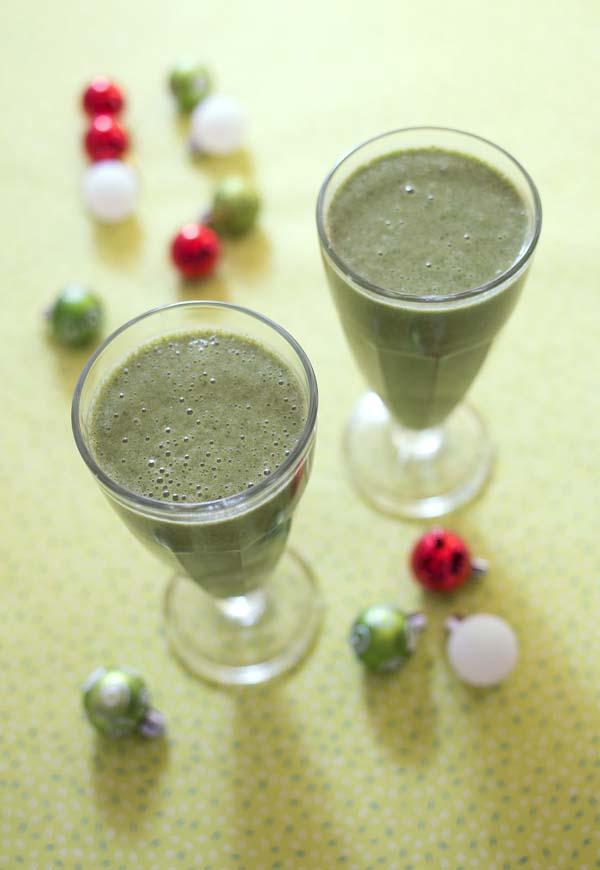 Photo recette Green smoothie mache, banane, poires et lait d'amandes