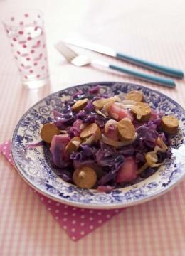 Chou rouge aux Soyciss et poires – recette vegan