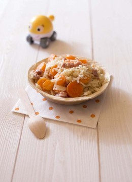 Riz basmati aux carottes et lardons – à partir de 18 mois