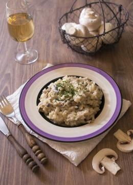 Risotto aux champignons et purée de noix de cajou