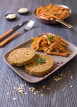 Galette pois chiche quinoa au curry de carottes