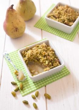 Crumble poires pistaches