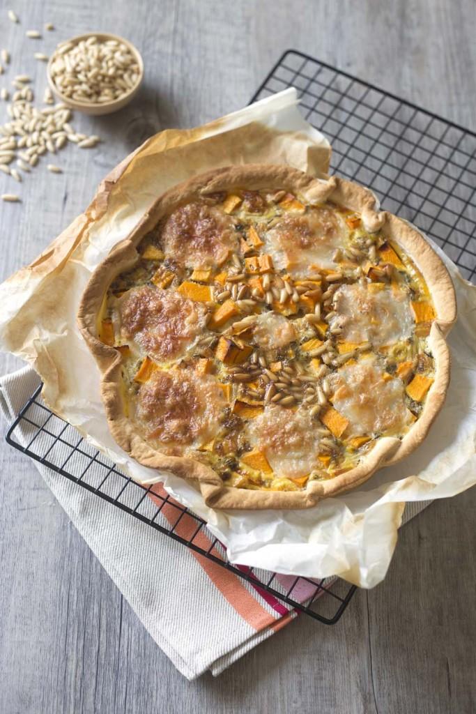 Photo de la recette : Quiche à la courge butternut, pignons et mozzarella – Bataille food #33