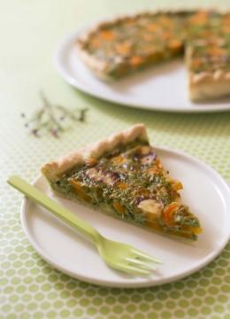 Tarte aux carottes, cantal et fanes