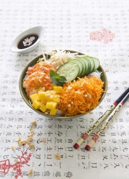 Buddha bowl asiatique aux crevettes