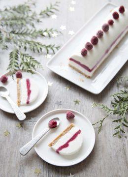 Bûche de Noël vegan citron coco framboises