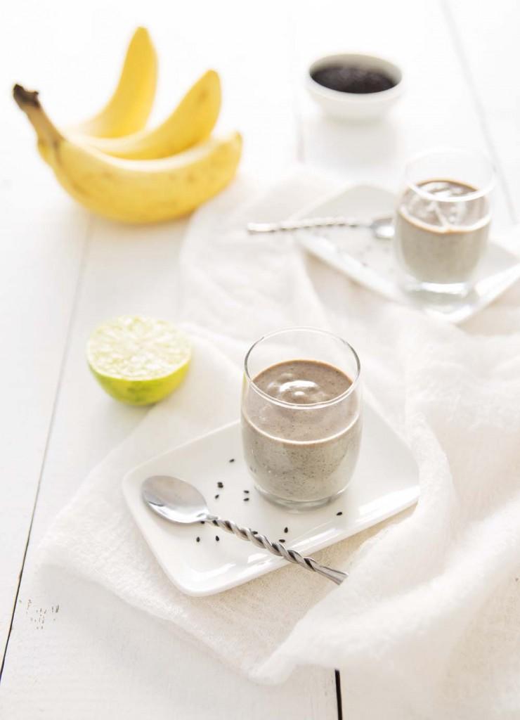 Photo de la recette : Petites crèmes bananes sésame noir – vegan
