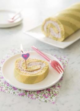 Gâteau roulé zébré matcha coco – sans lactose