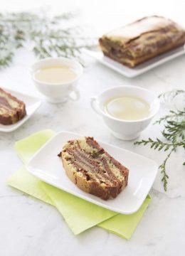 Cake marbré chocolat matcha – vegan