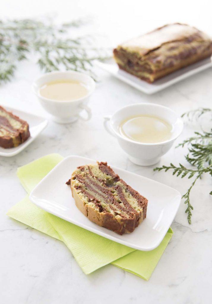 Photo de la recette : Cake marbré chocolat matcha – vegan