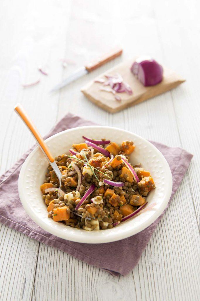 Photo de la recette : Salade de lentilles et patates douces à la feta