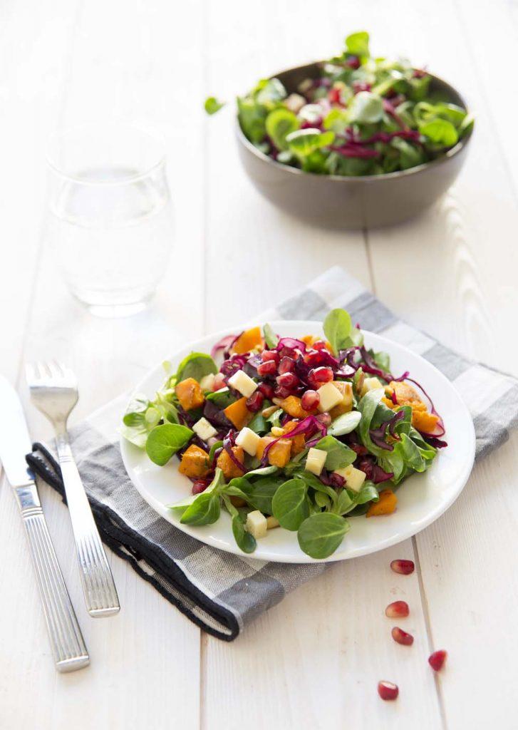 Salade d hiver courge m che et chou rouge biod lices - Salade d hiver variete ...