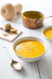 Soupe de courge butternut au lait de coco et citron confit