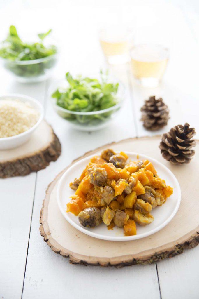 Photo de la recette : Poêlée de courge butternut aux marrons et aux épices indiennes