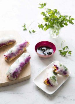 Rouleaux de printemps mangue tofu fumé