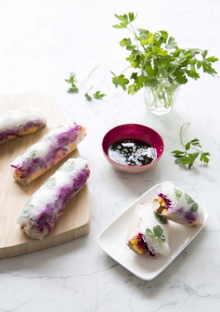 rouleaux de printemps mangue tofu fum recettes de cuisine biod lices. Black Bedroom Furniture Sets. Home Design Ideas