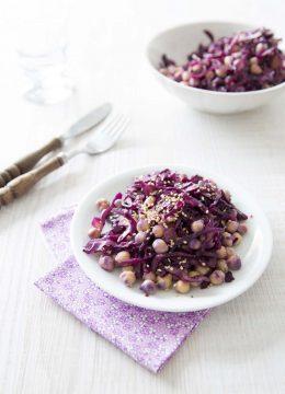 Salade de chou rouge aux pois chiches