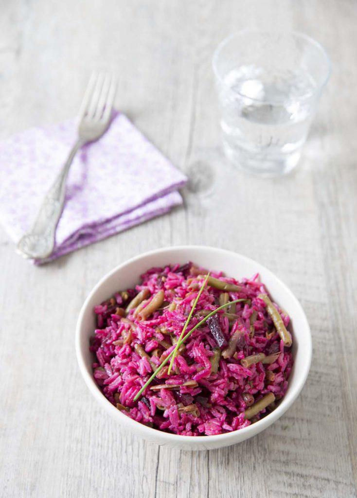 Photo de la recette : Salade toute rose haricots betterave – recette express
