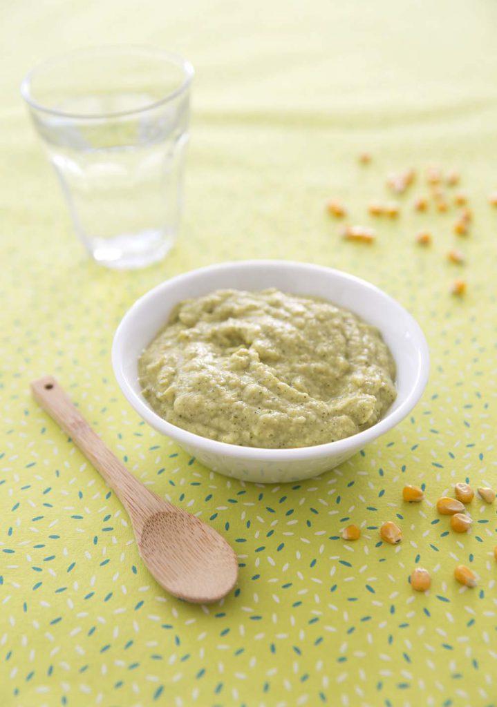 Photo de la recette : Purée de bébé courgettes maïs jambon