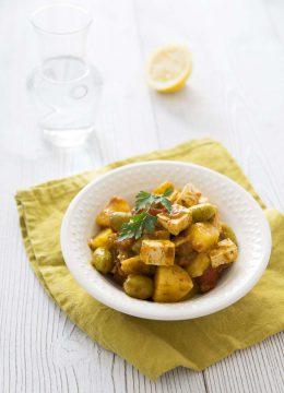 Tajine de pommes de terre et tofu sauce chermoula