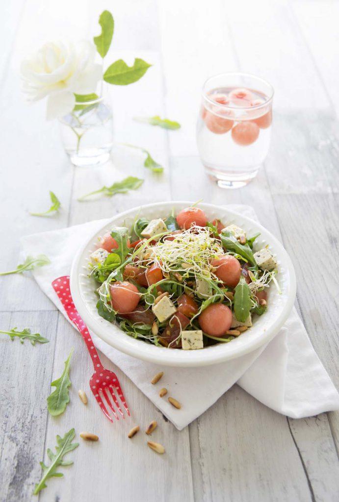 Photo de la recette : Salade estivale pastèque tofu