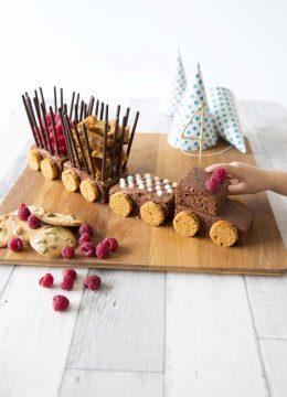 Gâteau d'anniversaire train au chocolat