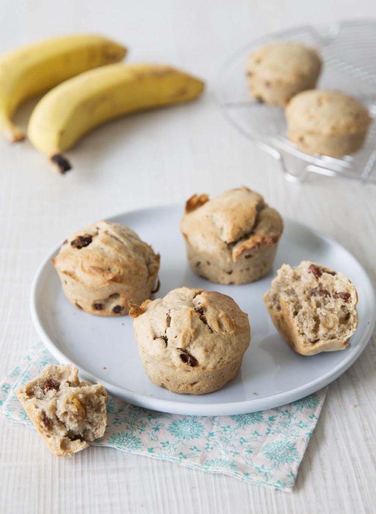 Photo de la recette : Muffins vegan bananes raisins secs