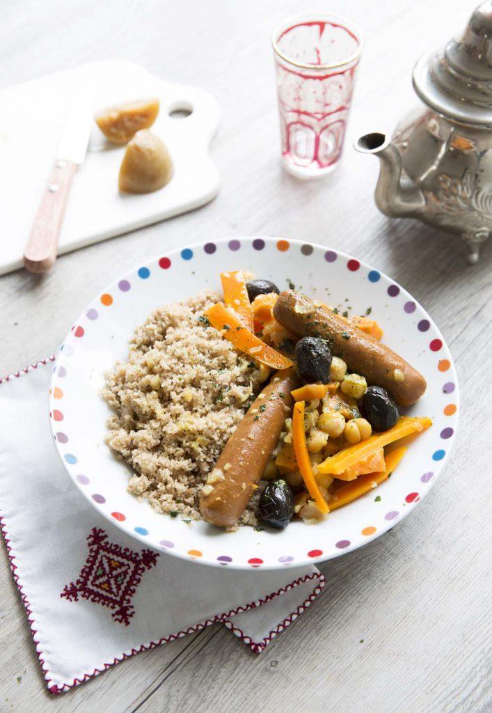Photo de la recette : Couscous végétarien au fonio, carottes et olives noires