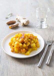 Poêlée de patate douce et pomme de terre à l'huile de coco