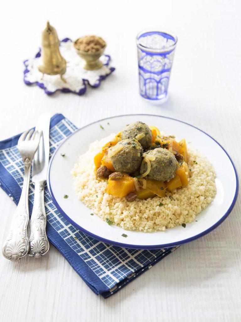 Photo de la recette : Couscous végétarien de potimarron et boulettes de lentilles