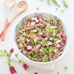 Salade printanière aux torsades petit épeautre, radis et petits pois