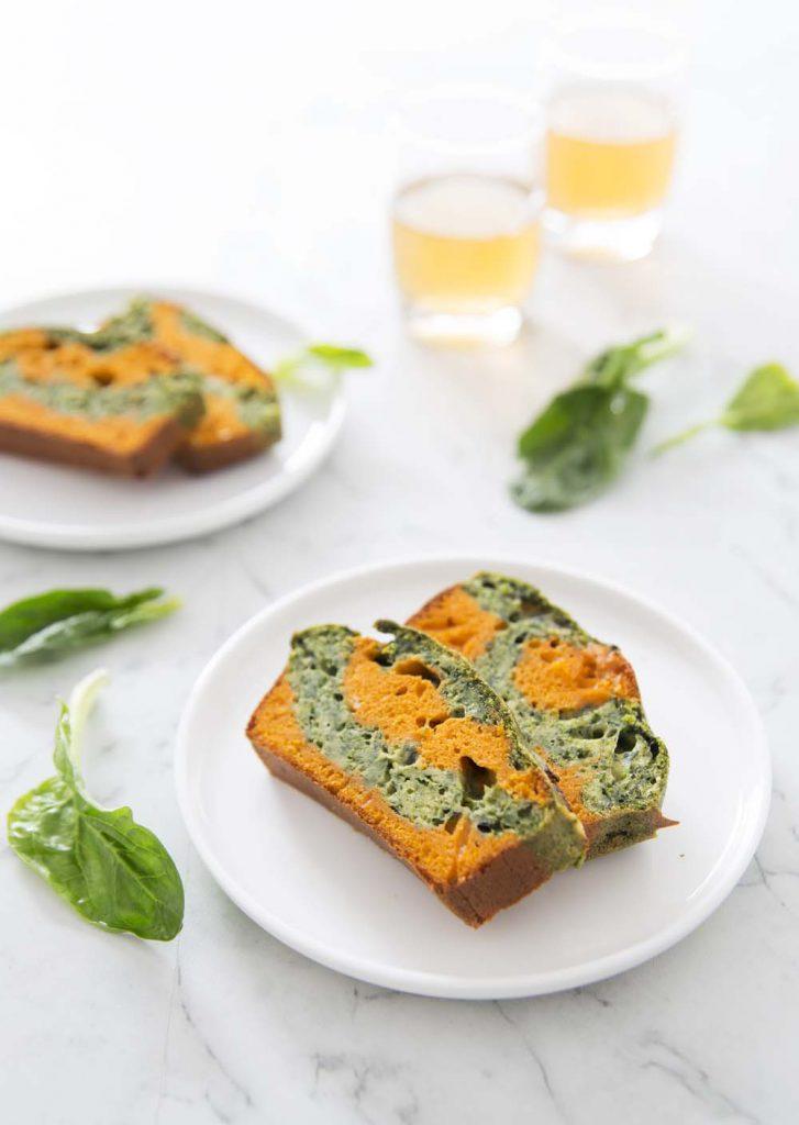 Photo de la recette : Cake marbré épinards tomate – sans lactose