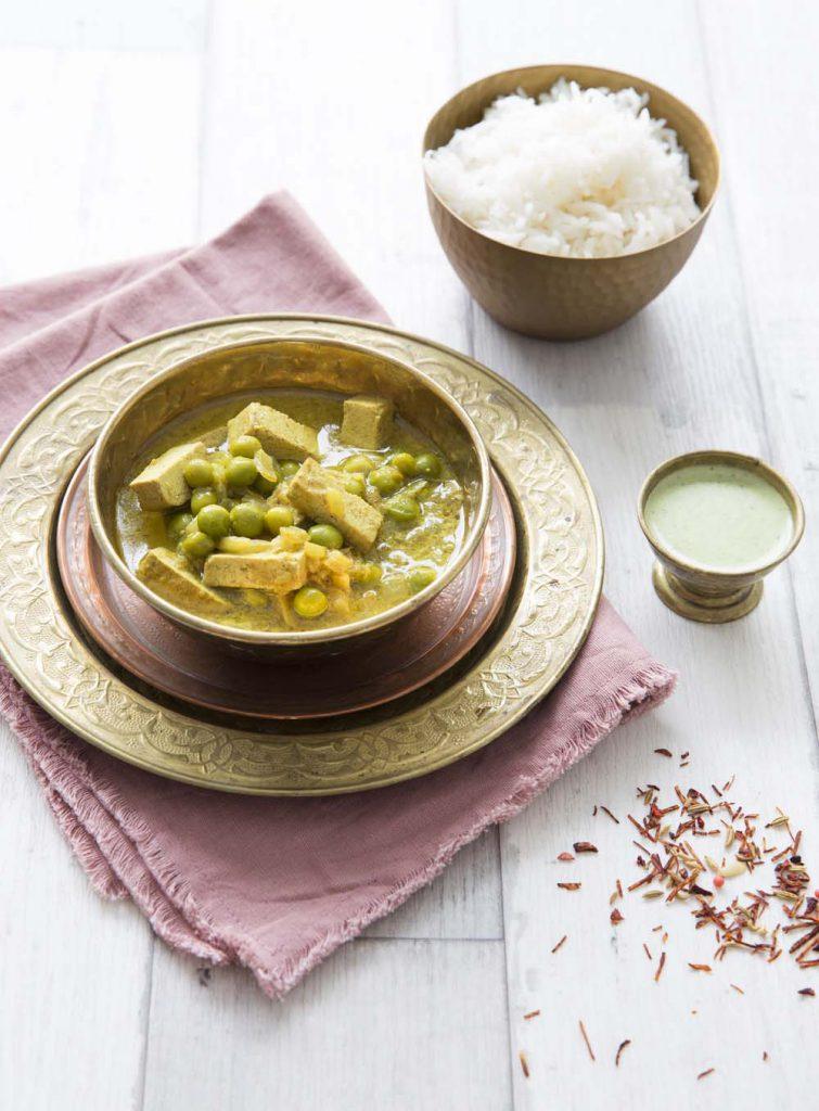 Photo de la recette : Curry de tofu aux petits pois