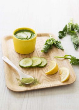 Soupe froide concombre épinards moringa