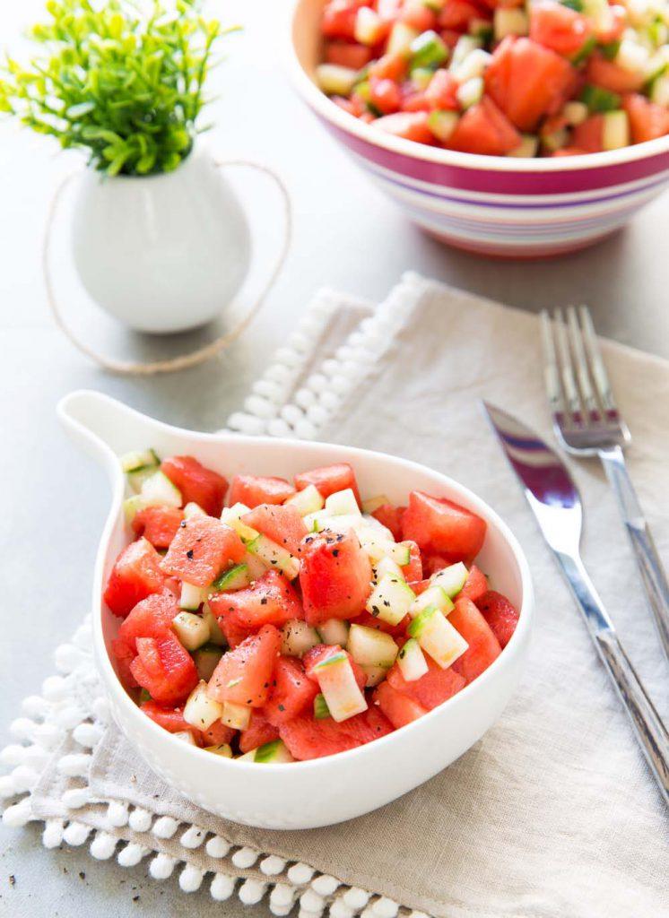 Photo de la recette : Salade pastèque concombre, fraîche et croquante