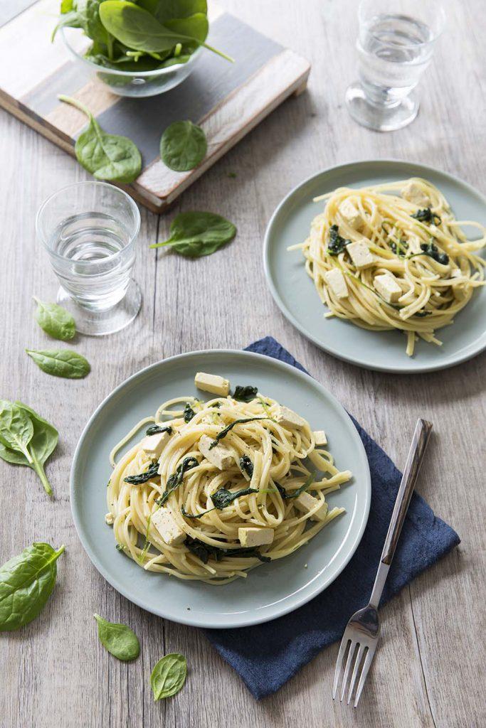 Photo de la recette : One pot pasta épinards tofu – plat rapide pour le soir