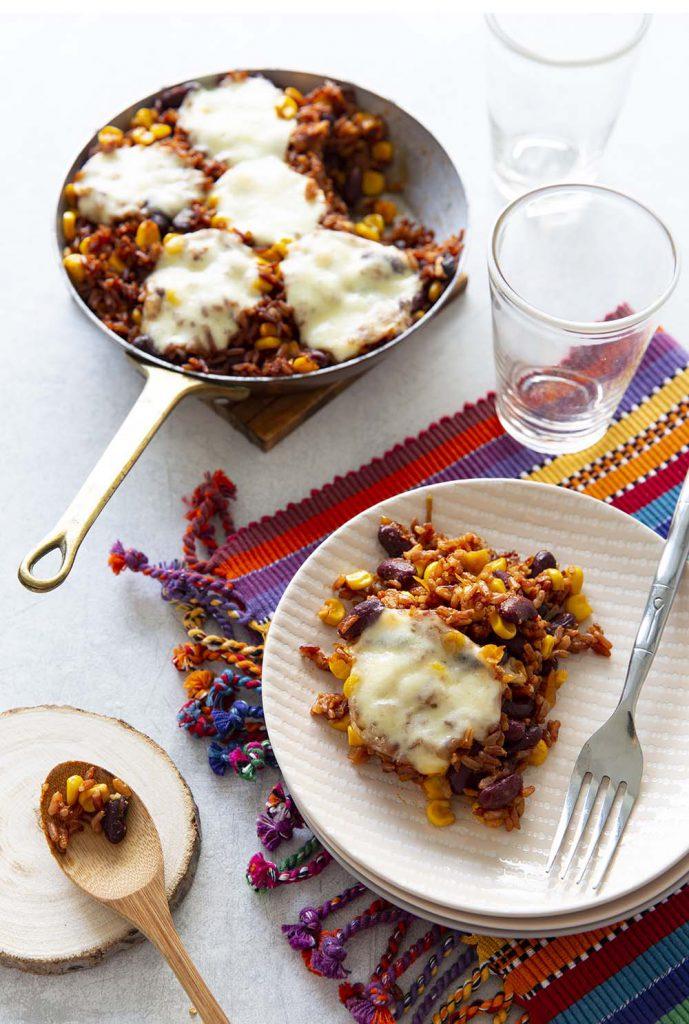 Photo de la recette : Poêlée cocooning de riz rouge à la mexicaine